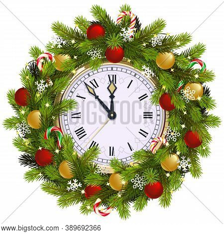 Vector Christmas Fir Wreath With Clock Isolated On White Background
