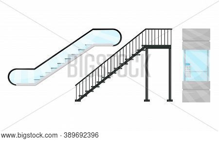Stairway, Elevator And Escalator As Vertical Distance With Steps Vector Set