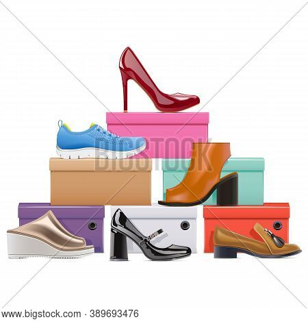 Vector Shoes Store Concept Isolated On White Background