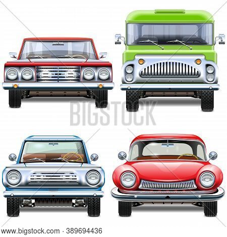 Vector Automobiles Front View Isolated On White Background