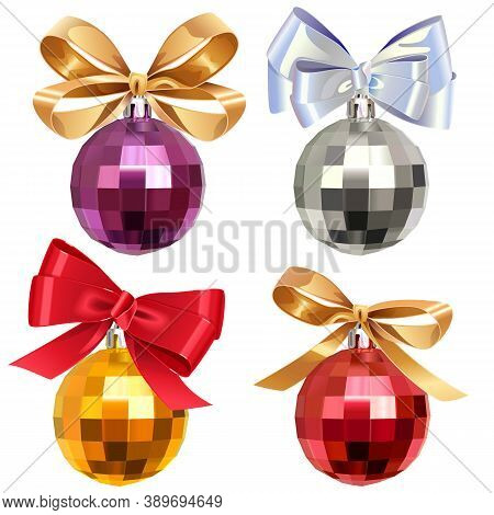 Vector Christmas Ball With Bow Isolated On White Background