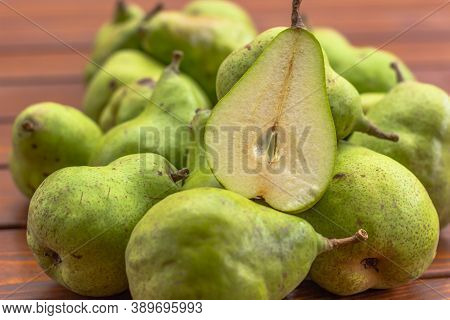 Bio Sweet Fresh Pears From The Farm. Healthy Organic Pears On Wooden Rustic Background. Healthy Food