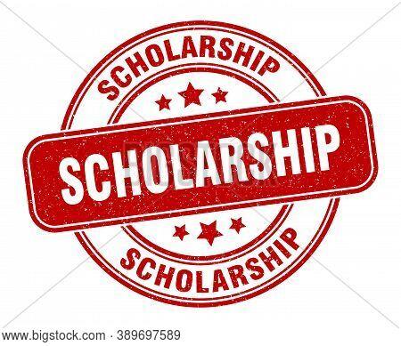 Scholarship Stamp. Scholarship Label. Round Grunge Sign