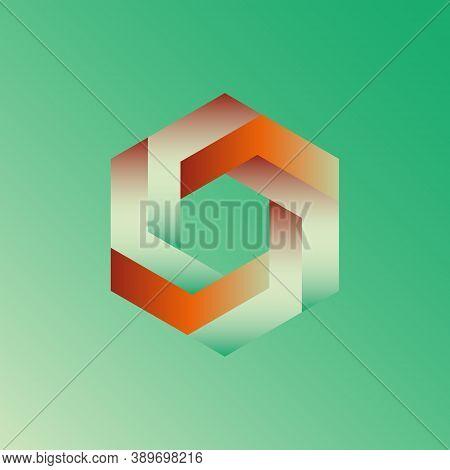 Unreal Optical Illusion Hexagon Illustration, Isometric Drawing