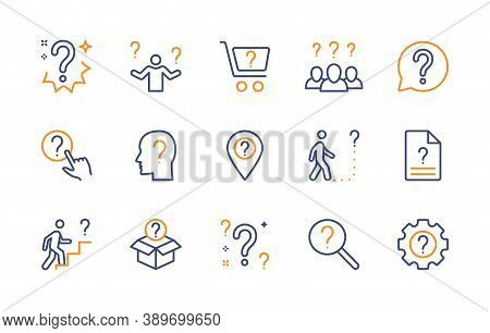 Questions And Problems, Ask And Think, Vector Color Linear Icons Set. Contains Icons How To Do, Unkn