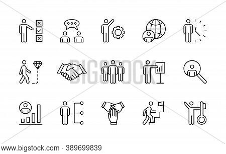 Business People, Work And Success, Vector Linear Icons Set. Business Management. Interaction, Trust