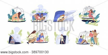 Scenes With People Locked And Getting Out Of The Cage. Concept Of Inner Prison Escape And Freedom. V