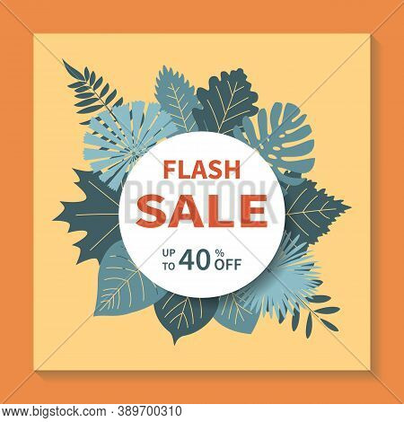 Flash Sales, Square Vector Banner Design. Abstract Geometric Tag Template With Specials Discounts, S