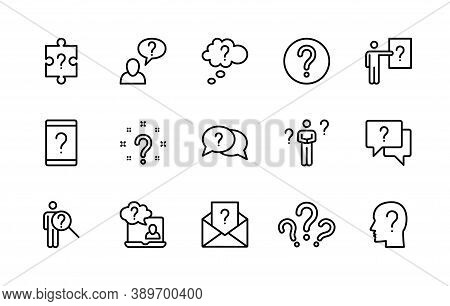 Questions And Problem, Ask And Think, Vector Linear Icons Set. Difficulty Management. Contains Icons