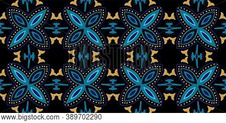 Dark Blue And Gold Plated Ethnic Victorian Ornament Vector Seamless Pattern. Retro Spanish Backgroun