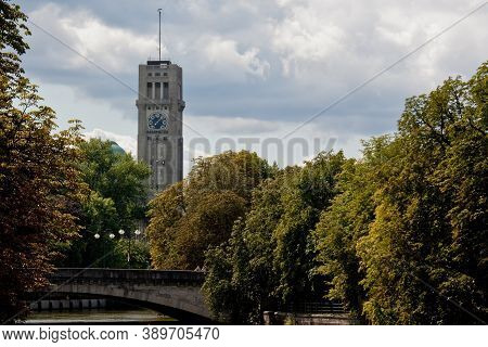 The Historic Tower Of The German Museum, Deutsches Museum In Munich, Germany, The World's Largest Mu