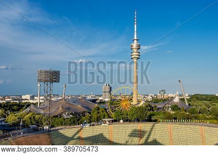 Munich, Germany. The Olympiaturm Has An Overall Height Of 291 M And A Weight Of 52,500 Tonnes. At A