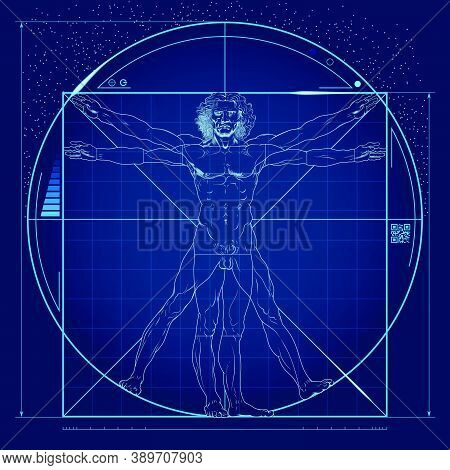 Vector Design, Of The Vitruvian Man, An Original Work By Leonardo, With Futuristic Elements And Colo