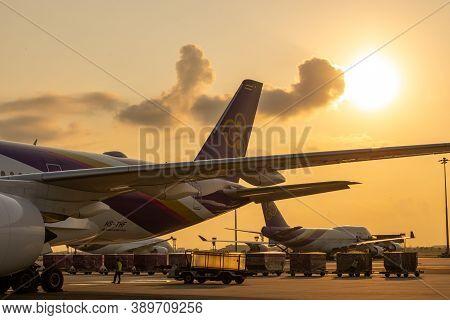 Bangkok, Thailand - April 2018: Thai Airways(tg) A Member Of Star Alliance Are Parked At Their Hub A