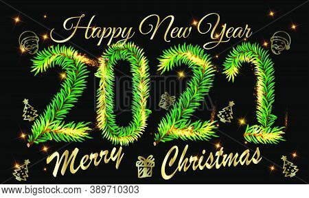 2021 Happy New Year Christmas Vector With Golden Light On Black Background - Happy New Year 2021 Chr