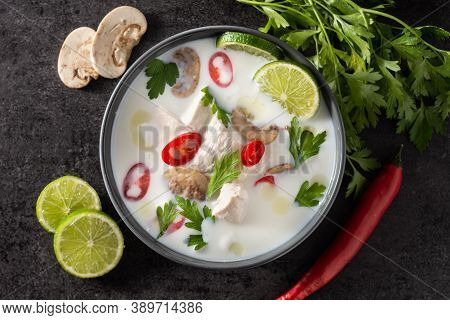 Traditional Thai Food Tom Kha Gai Coconut Milk Soup With Chicken, Ginger, Chilli Peppers,lime, And M