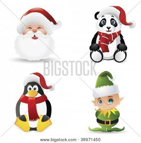 Christmas icons set.Vector illustration