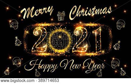 New Year 2021 And Merry Christmas Greetings Vector With Golden Light On Black Background - Christmas