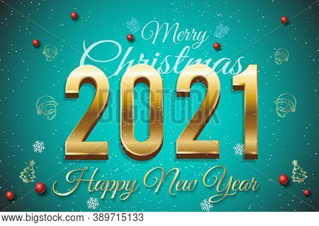 Merry Christmas 2021 New Year Greeting Card, Vector Illustration - Happy New Year 2021 Greeting Card