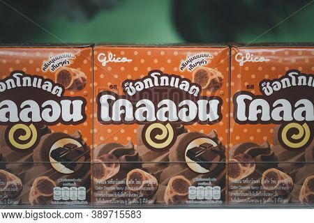 Samut Prakan, Thailand - October 14, 2020 : Glico Collon Biscuit In Shelf At Supermarket. Glico Coll