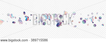 Color 3d Splash Vector Panoramic Transparent Background. Geometric Fluid Layout. Light Graphic Holog
