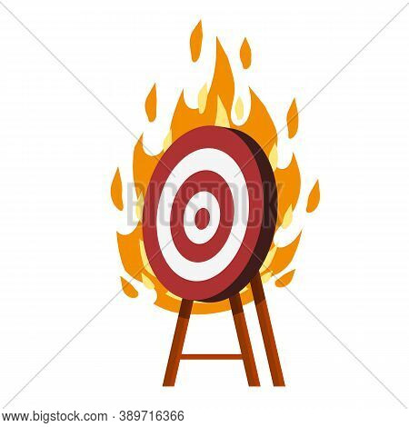 Target For Arrows. Red And White Fire Aim. Business Concept Several Attempts. Competition And Victor
