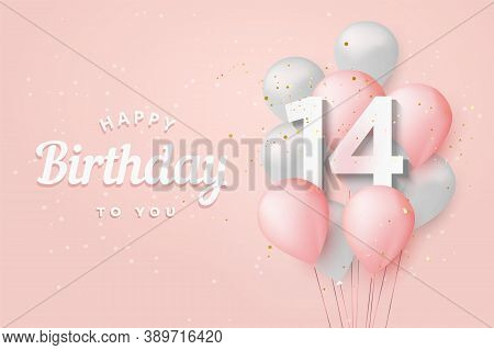 Happy 14th Birthday Balloons Greeting Card Background. 14 Years Anniversary. 14th Celebrating With C
