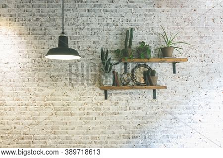 Modern Stylish White Brick Wall With Shelves And Plants. Hanging Lighting Lamp Giving Creating Ambie