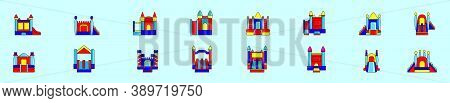 Set Of Bounce House Cartoon Icon Design Template With Various Models. Vector Illustration Isolated O