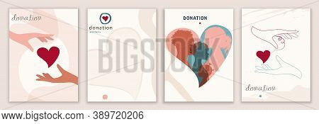 Vector Set Abstract Backgrounds Banner Covers Design Editable Templates. Concept Of Donation And Non