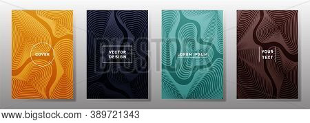 Flat Covers Linear Design. Fluid Curve Shapes Geometric Lines Patterns. Geometric Poster, Flyer, Ban