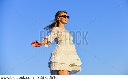 Freedom. Impulsiveness And Ease. Naturalness Concept. Dancing Woman. Mental Health. Girl Blue Sky Ba