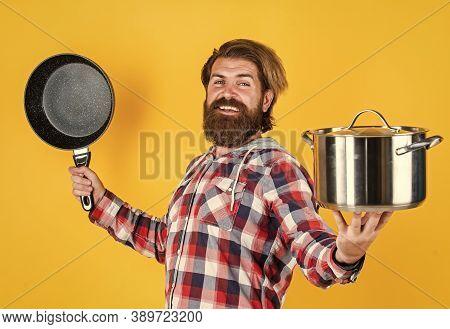 Secret Ingredient Is Joy. Man With Saucepan. Man Hold New Brand Pan. Shopping Kitchenware. Cooking P
