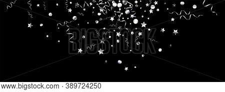 Silver Streamer Fun Vector Panoramic Black Background. Paper Confetti Invitation. Ribbon Flying Bran