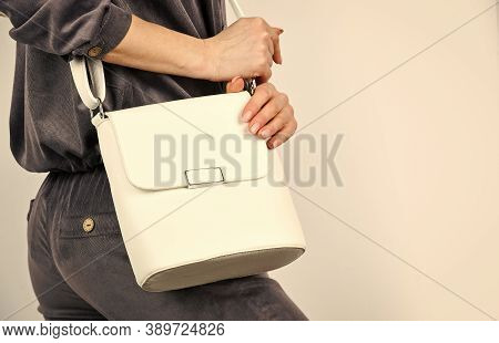 Every Detail Counts. Woman Lokking Stylish With Bag. Businesslady In Stylish Outfit. Shopping And Bu