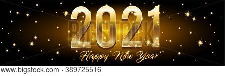 Golden Happy New Year 2021 Horizontal Banner With Burst Glitter On Black Colour Background Vector Il