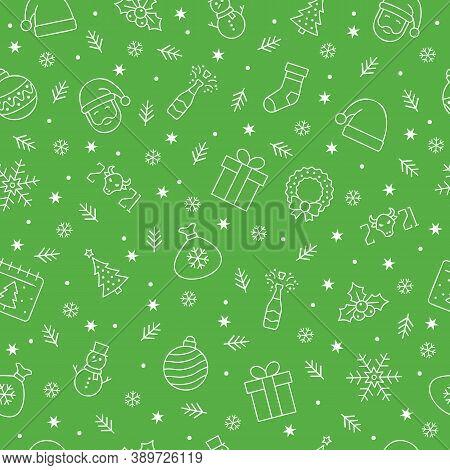 Christmas Icons Seamless Pattern, Christmas Ornaments, Seamless Pattern For Christmas And New Year O