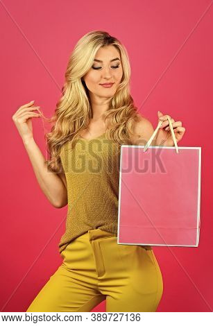 Cyber Monday Concept. Sexy Blond Woman Go Shopping. Best Give-away Ever. Special Offer Just For You.