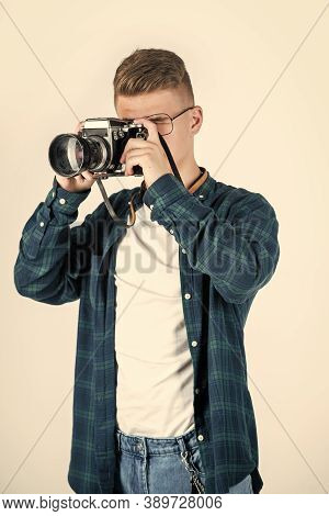 Best Service. Young Teen Reporter. Travel Photo Concept. Boy In Casual Wear With Vintage Photo Camer