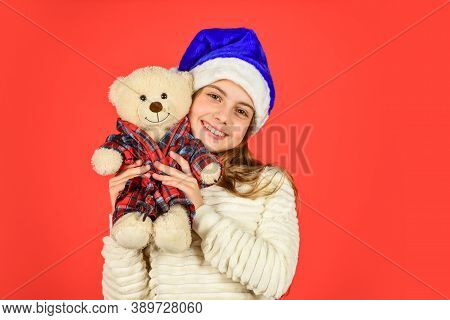 Christmas Gift. Teddy Bear Improve Psychological Well Being. Small Girl Hold Teddy Bear Toy. Kid Lit