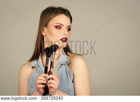 Beauty Hairdresser Salon. Lipstick And Eyeshadow. Sensual Woman With Long Hair, Style. Sexuality. Sk