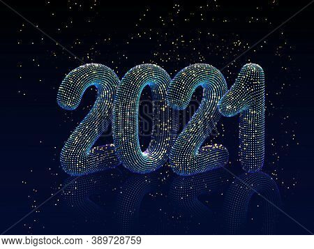 Happy New Year Greeting Postcard: 3d Neon Glowing Text With Golden Shiny Sparkles On Blue Background