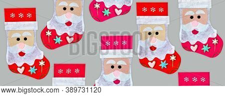 Christmas Seamless Background New Year's Sock In The Form Of Santa Claus.traditional Holiday Socks.s