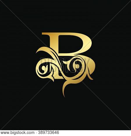 Luxury Gold Letter B Floral Leaf Logo Icon,  Classy Vintage Vector Design Concept For Emblem, Weddin