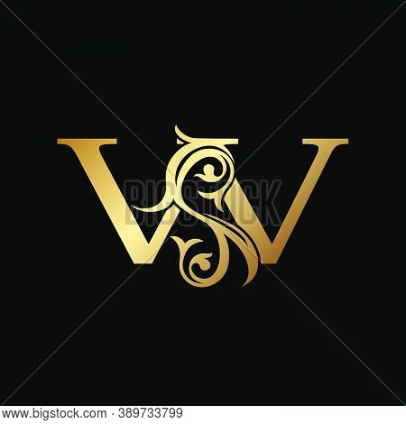 Luxury Gold Letter W Floral Leaf Logo Icon,  Classy Vintage Vector Design Concept For Emblem, Weddin