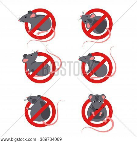 Set Of Anti Pest Signs With Gray Rats Silhouettes Under Red Circle. Vector Illustration. House Mouse