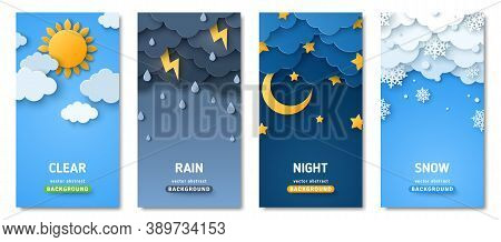 Vertical Posters Set With Fluffy Clouds. Weather Forecast App Widgets. Thunderstorm, Rain, Sunny Day