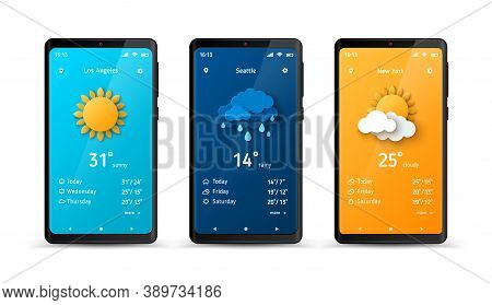 Weather Forecast Widget At Smartphone Screen. Vector Illustration. Mobile Phone With Daily Weather F