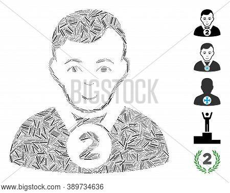 Dash Mosaic Based On 2nd Prizer Sportsman Icon. Mosaic Vector 2nd Prizer Sportsman Is Designed With
