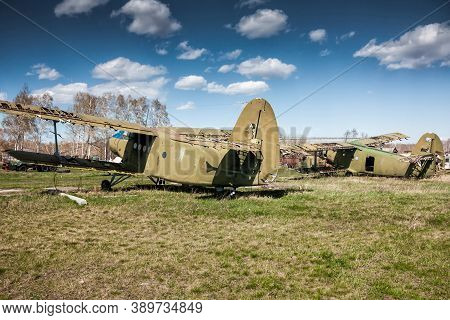 Storage The Old Biplanes At The Airfield